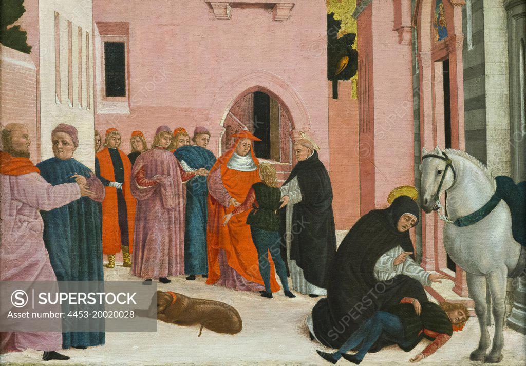 Stock Photo: 4453-20020028 Saint Dominic Resuscitating Napoleone Orsini by Bartolomeo degli Erri; Tempera on canvas; Transferred from wood; 1467 - 1474