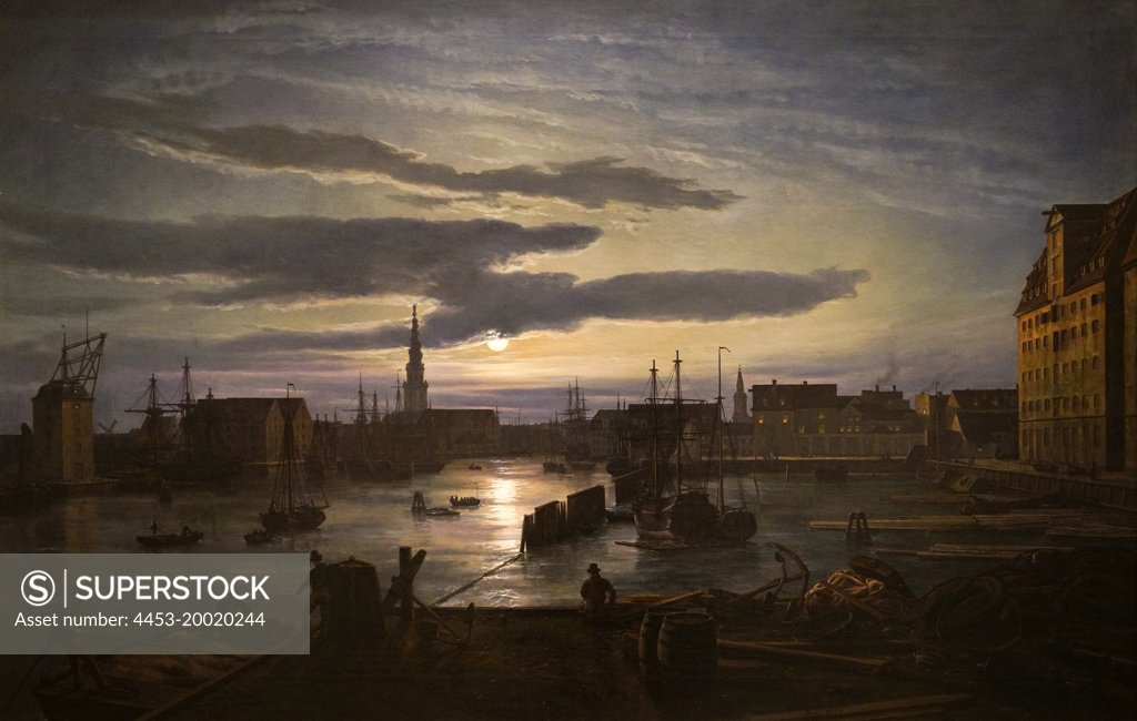 Stock Photo: 4453-20020244 Copenhagen Harbor by Moonlight by Johan Christian Dahl (1788 - 1857); Oil on canvas; 1846