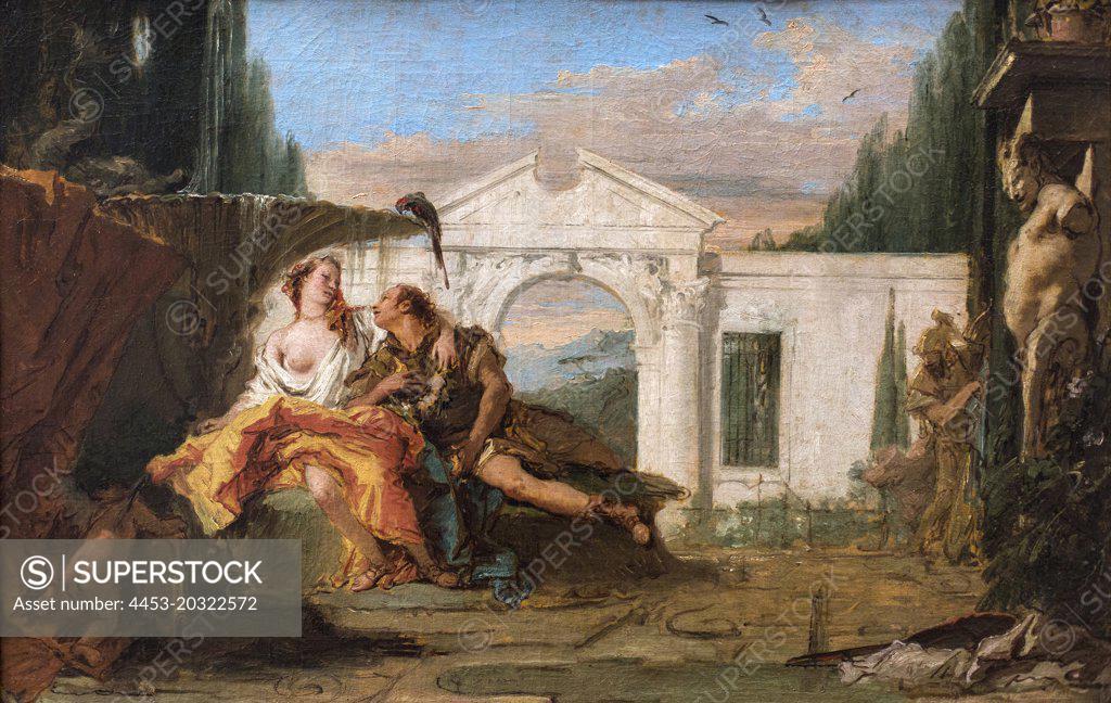 Stock Photo: 4453-20322572 Rinaldo and Armida overheard in the magic garden of Armida; Carlo and Ubaldo. (Giovanni Battista Tiepolo; 1696 Venice 1770 Madrid)