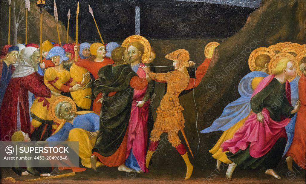 Stock Photo: 4453-20496848 The Betrayal of Christ; about 1437-44 Tempera on poplar panel Sassetta (Stefano di Giovanni di Consolo); Italian; about 1400-1450
