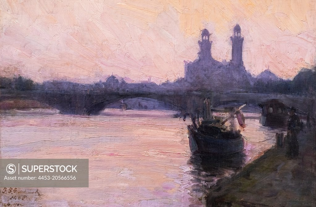 Stock Photo: 4453-20566556 The Seine Oil on canvas; 1902 Henry Ossawa Tanner; American; 1859 - 1937