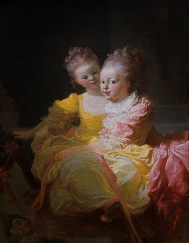 Jean Honore Fragonard, French, Grasse 1732-1806 Paris, The Two Sisters, ca. 1769-70, Oil on canvas. : Stock Photo