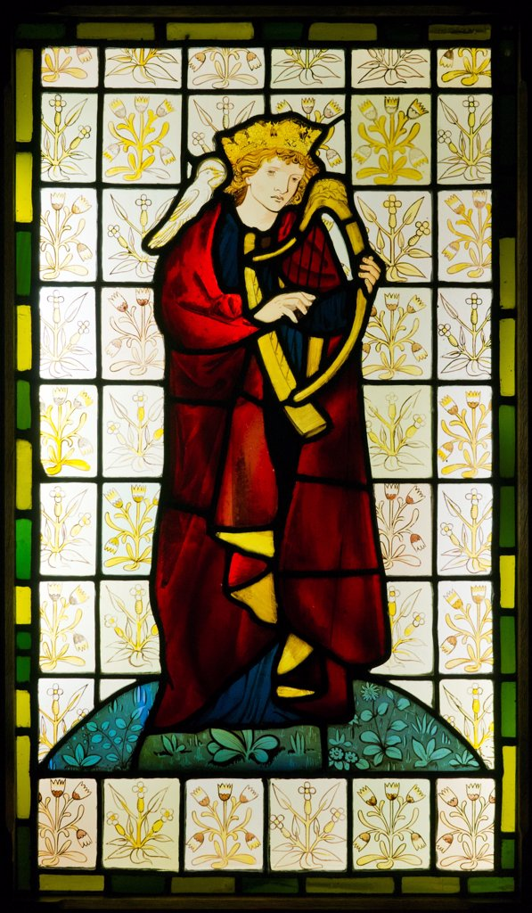 Stock Photo: 4453-1304 King David the Psalmist, Glass (stained, painted and colored, pot metal) Edward Burne-Jones (1833-1898) and William Morris (1834-1896),.