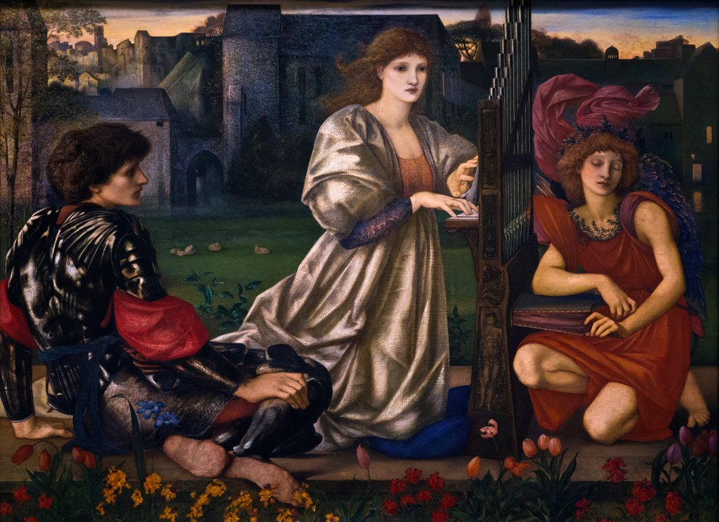 Stock Photo: 4453-1309 Sir Edward Burne-Jones, British, 1833-1898, The Love Song, 1868-77, Oil on canvas.