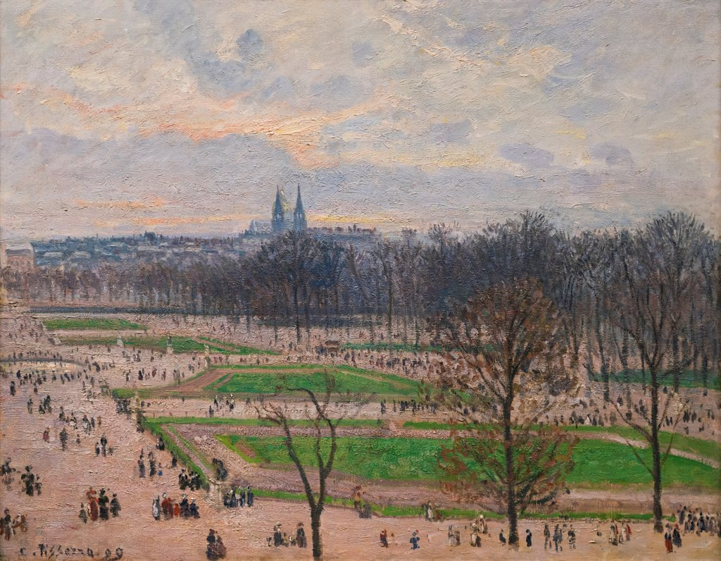Stock Photo: 4453-1425 Camille Pissarro; French; 1830-1903; The Garden of the Tuileries on a Winter Afternoon; 1899; Oil on canvas.