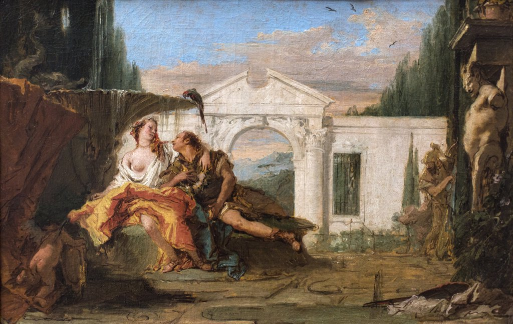 Stock Photo: 4453-20322572 Rinaldo and Armida overheard in the magic garden of Armida; Carlo and Ubaldo. (Giovanni Battista Tiepolo; 1696 Venice 1770 Madrid)