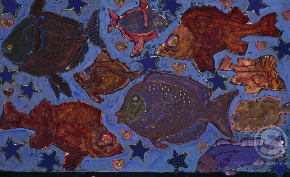 Nine Fish in a Sky of Blue  1996  Marilee Whitehouse-Holm (b.1949/American)  : Stock Photo