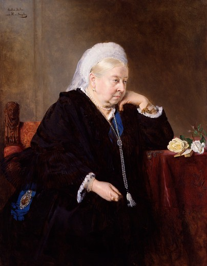 Stock Photo: 454-145763 Bertha M_ller; Heinrich von Angeli 1900 (1899) painting oil on canvas National Portrait Gallery, London