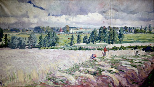 Stock Photo: 455-214 Summer Landscape Near Hamme by Edmond Verstraeten, oil on canvas, 1923, 1870-1956, Private Collection