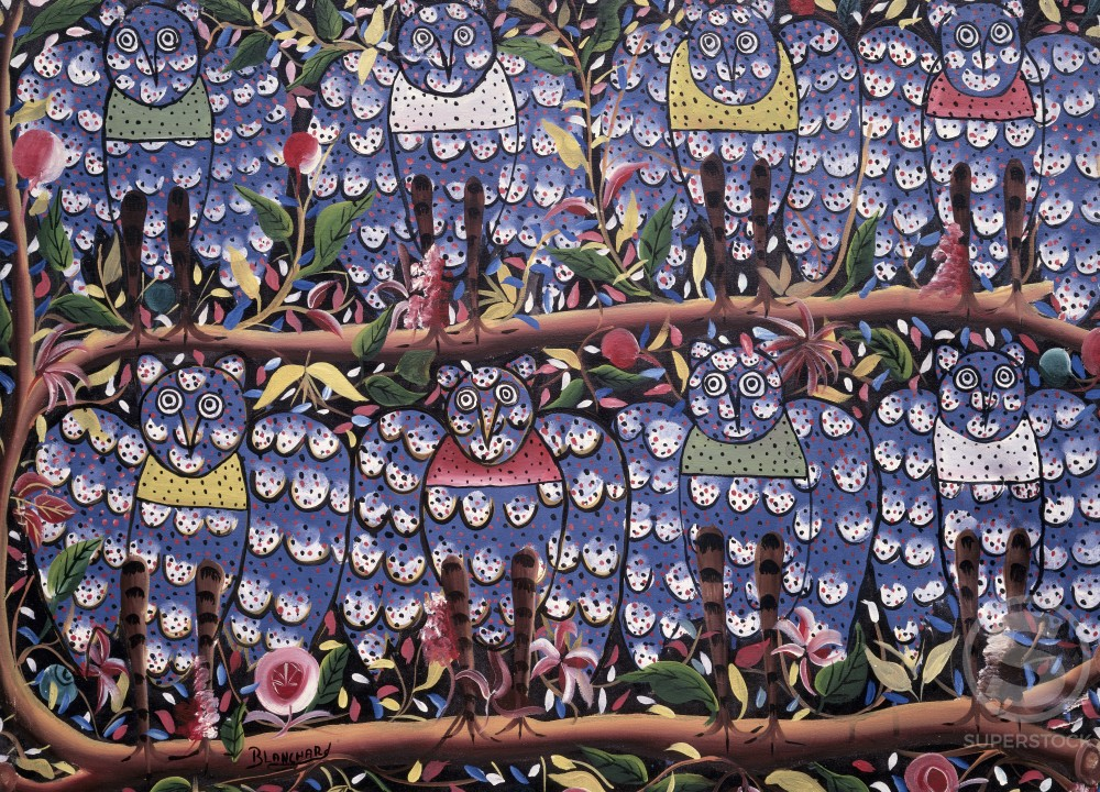 Eight Owls,  by Blanchard,  oil on canvas,  Haiti,  Private Collection : Stock Photo