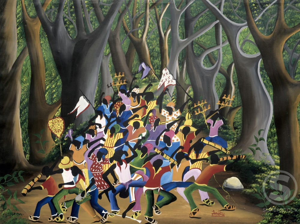 Stock Photo: 455-222 Voodoo Dance in the Forest,  by Jean Pierre,  oil on canvas,  Haiti,  Private Collection