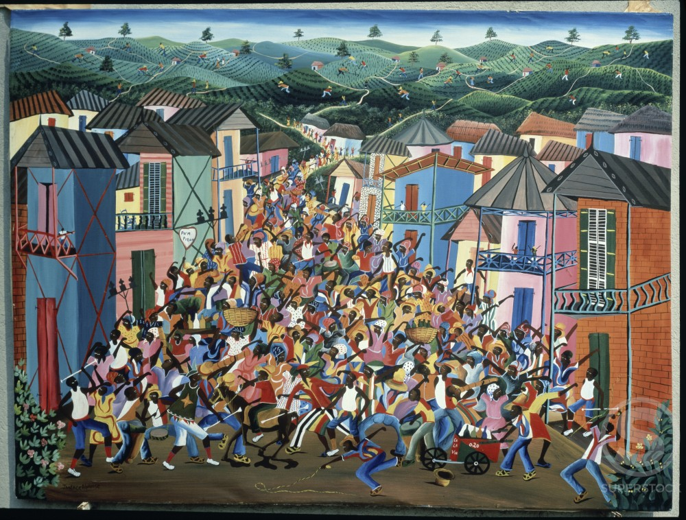 Stock Photo: 455-229 Village Festival by Inatace Alphonse, oil on canvas, Private Collection