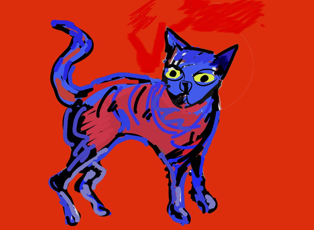 Stock Photo: 456-1753 Blue cat, 2007, Diana Ong (b.1940/Chinese-American) Computer Graphics