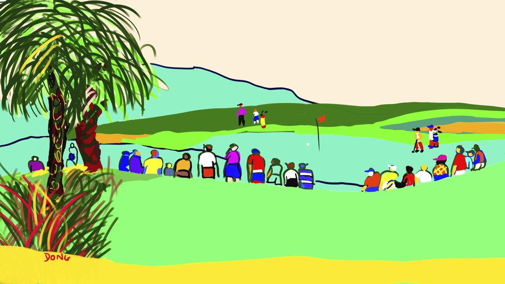 Stock Photo: 456-2061 Golfers page, 2007, Diana Ong (b.1940/Chinese-American) Computer Graphics