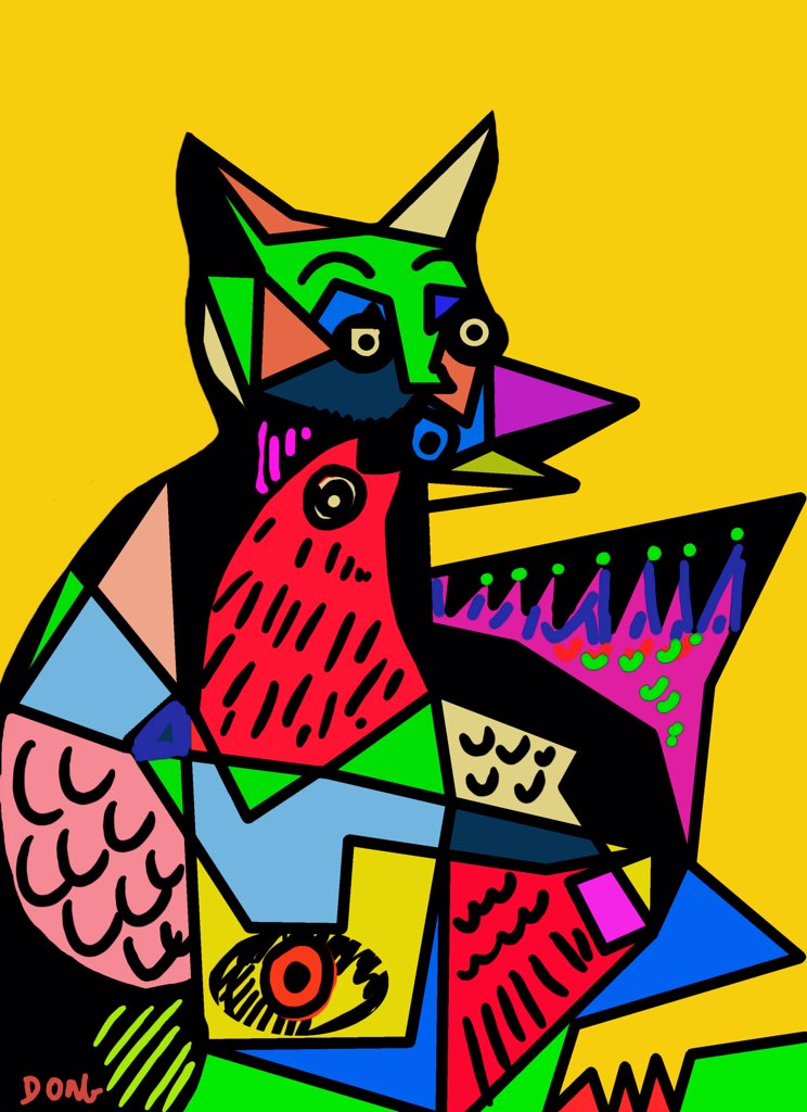 Stock Photo: 456-2209 Birdbrain cat, 2010,by Diana Ong, computer graphics