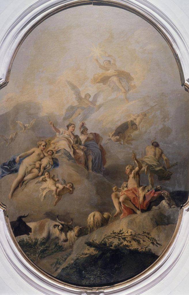 Italy, Pisani, Villa Nazionale Pisani, Judgment of Paris by Jacopo Amigo, 1675/82-1752 : Stock Photo