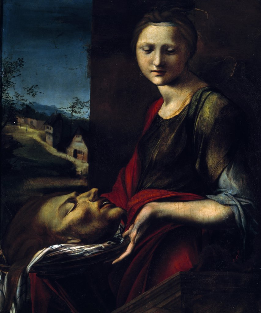 Salome by Alonso Berruguete,  oil on panel,  (1480/6-1561) Italy,  Florence,  Galleria degli Uffizi : Stock Photo