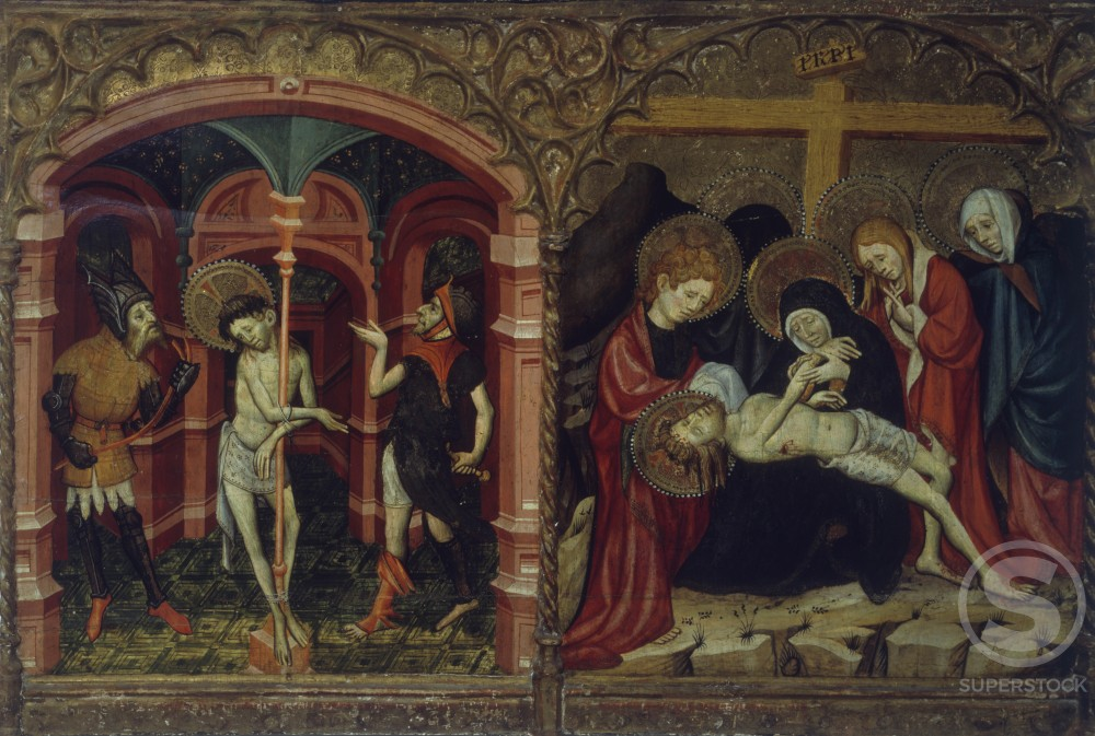 Flagellation and Lamentation of the Death of Christ, Artist Unknown, Italy, Florence, Collection Corsi : Stock Photo