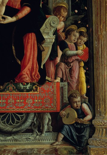 Italy, Padua, Verona, Madonna Enthroned with Saints (Central Detail with Angels) by Andrea Mantegna, 1431-1506 : Stock Photo