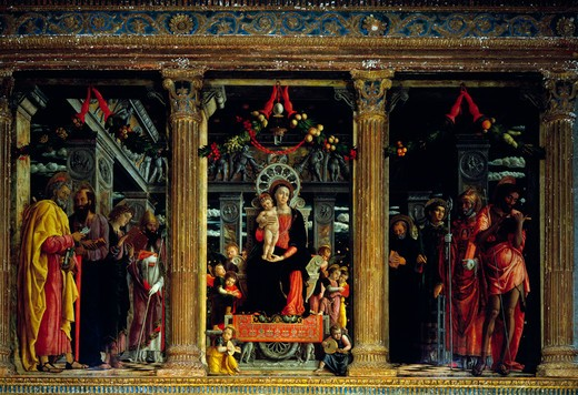 Italy, Verona, Saint Zeno, Madonna Enthroned with Saints from alterpiece triptych by Andrea Mantegna, 1431-1506 : Stock Photo