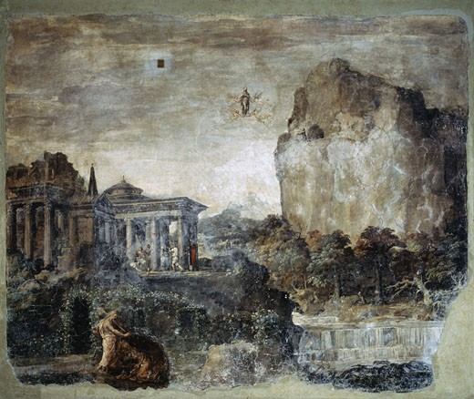 Landscape With The Story Of The Maddalena Polidoro da Caravaggio (1497-1543 Italian) San Silvestro al Quirinale, Rome, Italy : Stock Photo