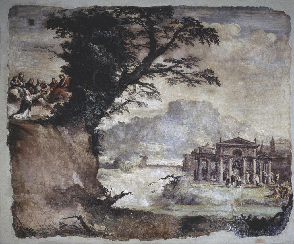 Landscape With The Story Of Catherine of Siena Polidoro da Caravaggio (1497-1543 Italian) San Silvestro al Quirinale, Rome, Italy : Stock Photo