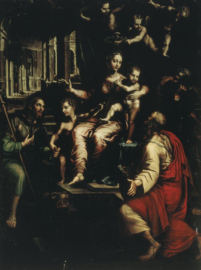 Madonna and Saints  Giulio Romano (1499-1546 Italian) Santa Maria dell'Anima, Rome, Italy : Stock Photo