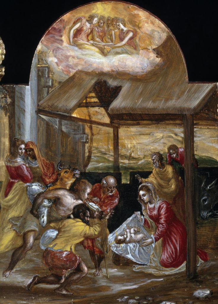 Stock Photo: 457-2116 Portable Altar-Adoration of the Shepherds  (Altarolo Portatile, Adorazione dei Pastori) 1560-1565 El Greco (1541-1614/Greek) Tempera on Wood Pinacoteca Estense, Modena, Italy