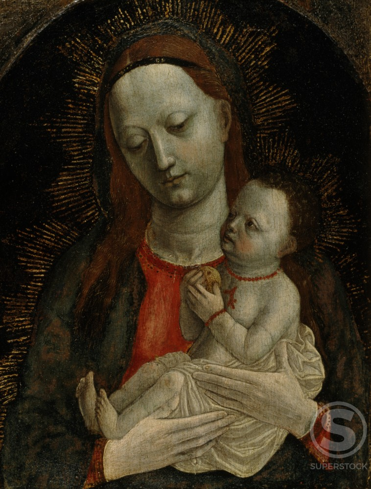 Madonna with Child,  artist unknown,  tempera on wood : Stock Photo