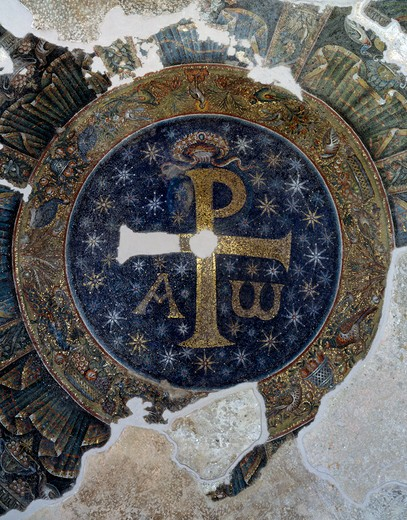 Italy, Napoli, San Giovanni in Fonte, Monogrammed Cross, early Christian mosaic, 5th century : Stock Photo