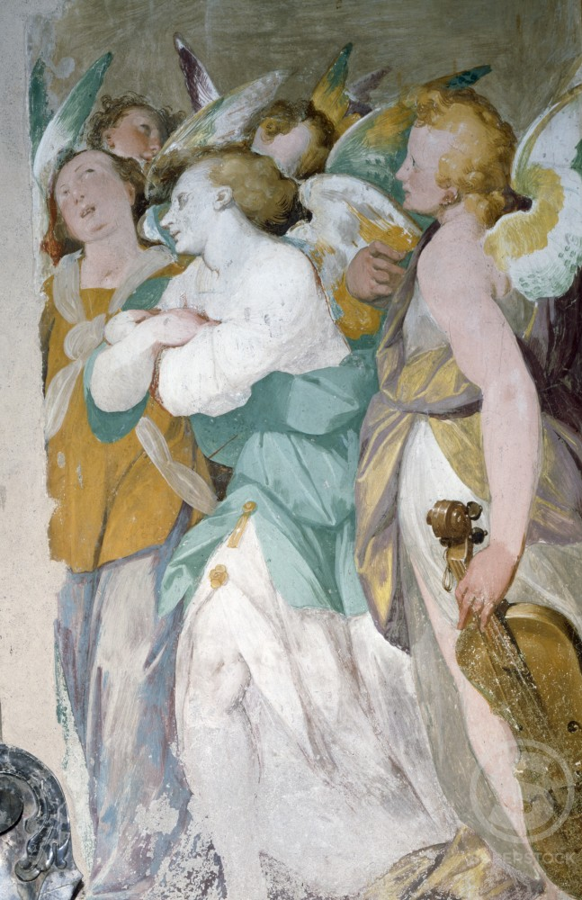 Stock Photo: 457-214 Musician Angels,  by Giovanni Battista Crespi,  (1557-1633) Madonna of the Meadows Sanctuary