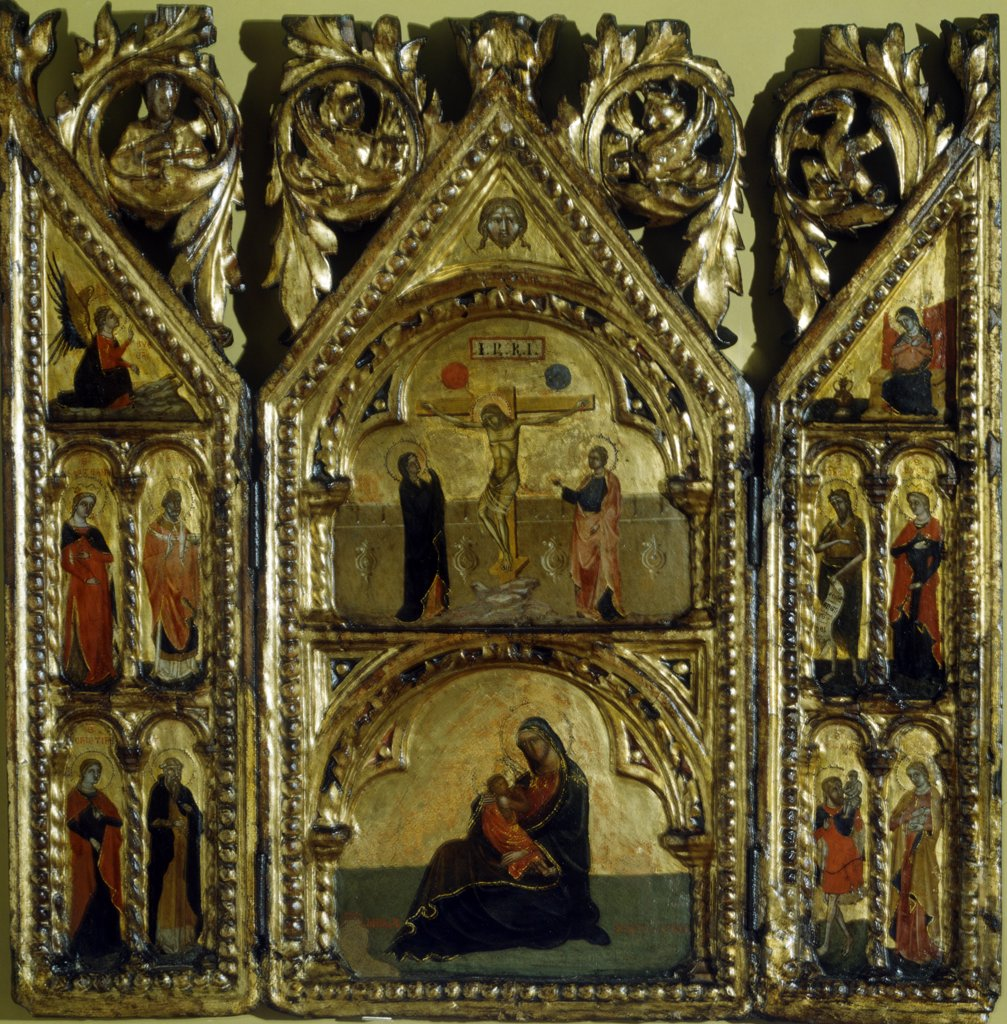 Portable Altar - Crucifixion, Annunciation, Madonna with child and saints by Artist Unknown, Italy, Venice, Museo Correr : Stock Photo