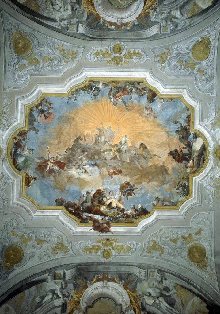 Allegory of Four Corners of World by Giovanni Battista Crosato, 1686-1758, Italy, Venice, Museo Correre : Stock Photo