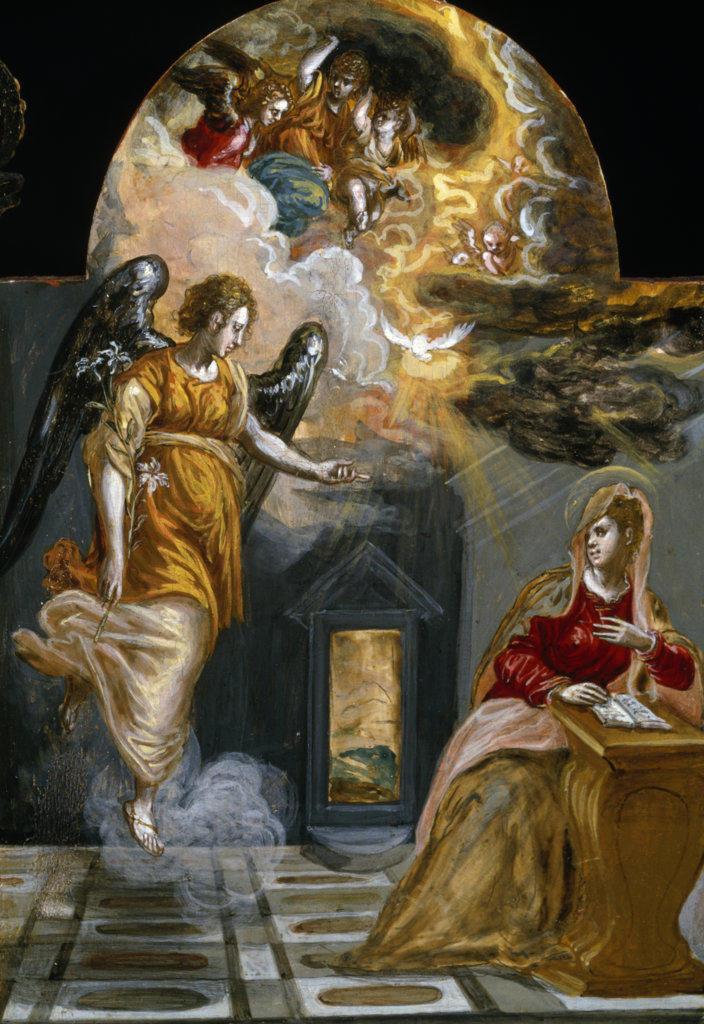 Stock Photo: 457-2195 Annunciation (Annunciazione) El Greco (1541-1614/Greek)  Tempera on Wood Pinacoteca Estense, Modena