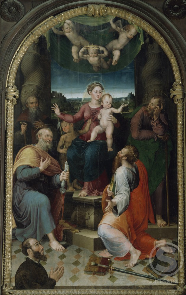 Madonna Enthroned with Saints by unknown Italian artist, Artist Unknown, Italy, Acqualagna, Santa Maria della Scala : Stock Photo