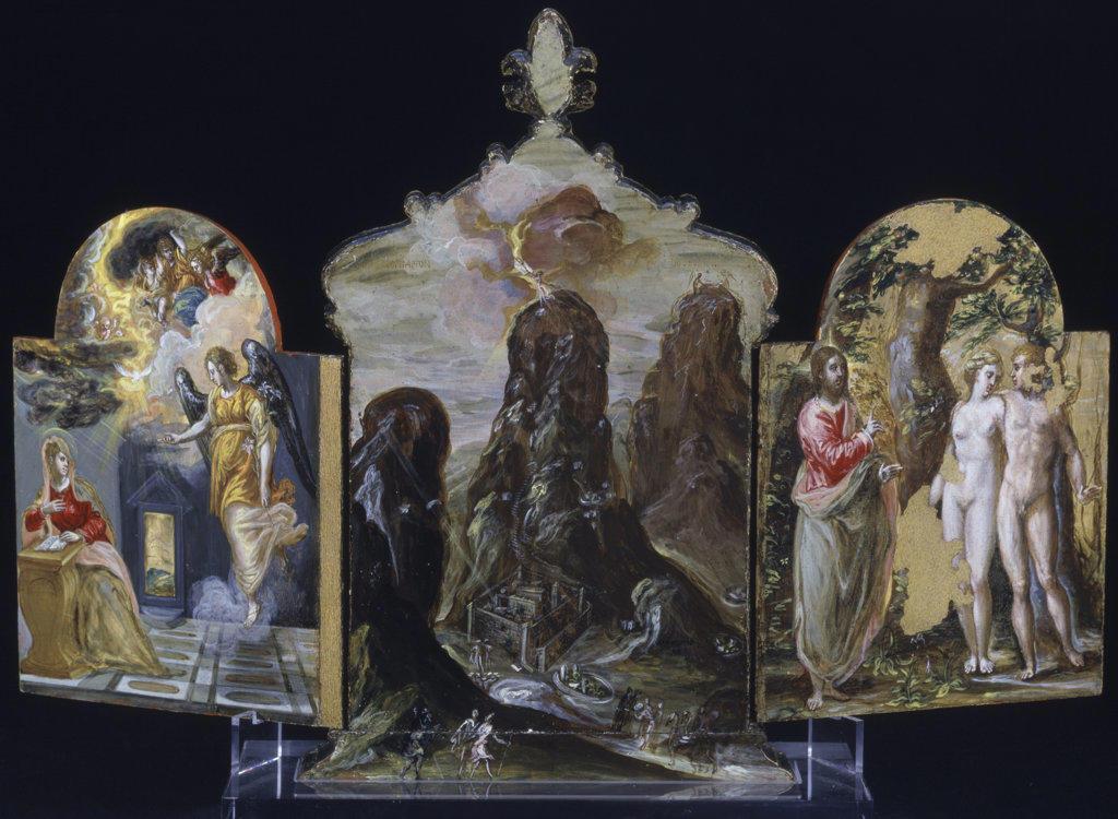 Stock Photo: 457-2229 External Surface Of Portable Altarpiece El Greco (1541-1614 Greek) Tempera On Wood Pinacoteca Estense, Modena, Italy