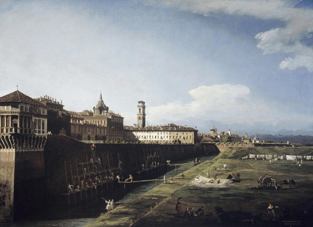 Stock Photo: 457-2258 View Of Torino (Turin) From The Royal Gardens Bernardo Bellotto (1721-1780 Italian) Oil On Canvas Pinacoteca Sabauda, Torino, Italy