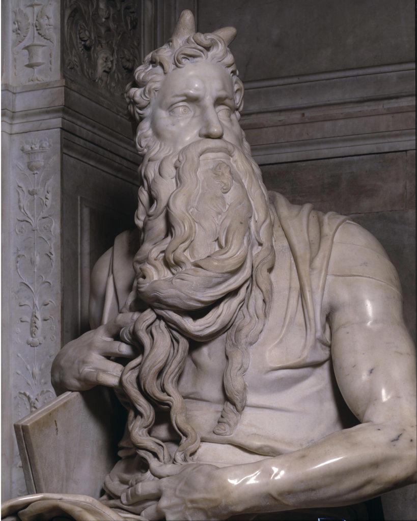 Moses (Detail) Michelangelo Buonarroti(1475-1564 Italian) Marble San Pietro in Vincoli, Rome, Italy : Stock Photo