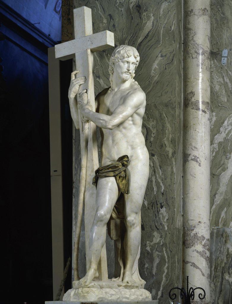 Stock Photo: 457-2326 Risen Christ Michelangelo Buonarroti (1475-1564 Italian) Santa Maria Sopra Minerva, Rome