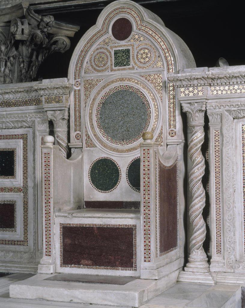 Stock Photo: 457-2366 Chair of St. Lorenzo Vassalletto Family,  12th-14th century,  Italy,  Rome,  Basilica di San Lorenzo Fuori le Mura