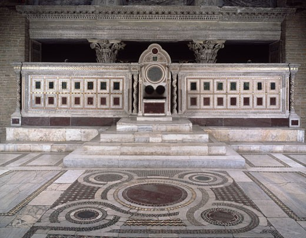 Stock Photo: 457-2367 Chair of St. Lorenzo & Balustrade Vassalletto Family 12th-14th C. Italian Basilica di San Lorenzo Fuori le Mura, Rome