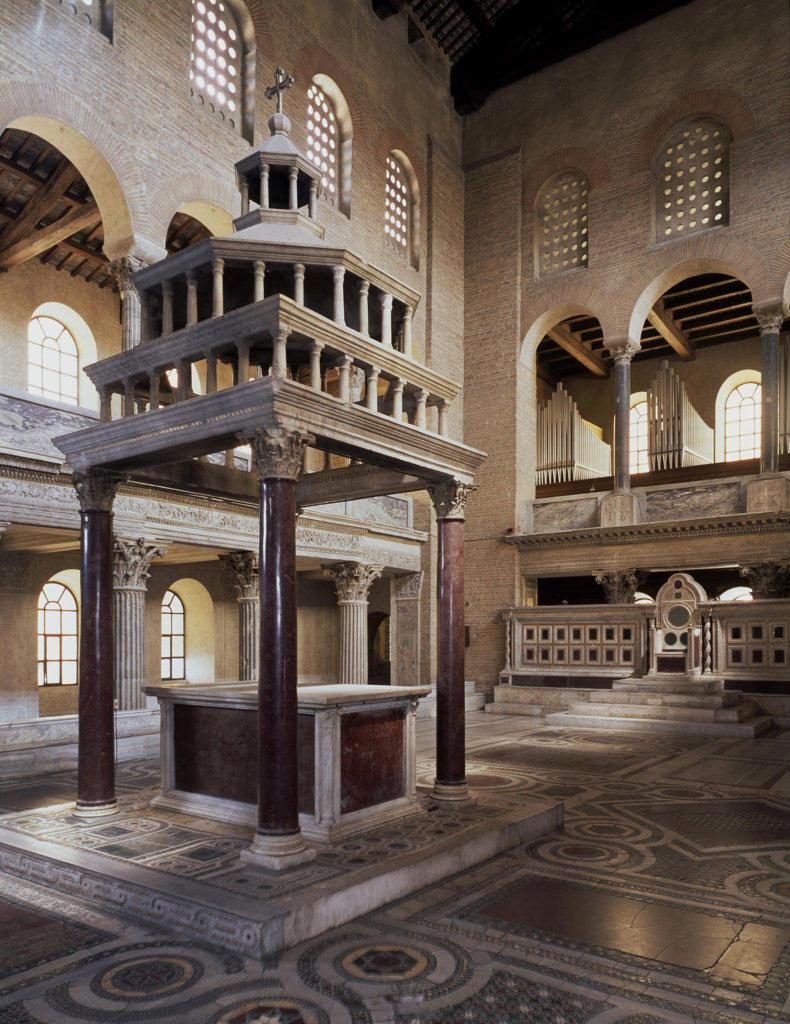 Stock Photo: 457-2369 Ciborium & Presbytery Sasso Family (Italian) Stone Basilica di San Lorenzo Fuori le Mura, Rome, Italy