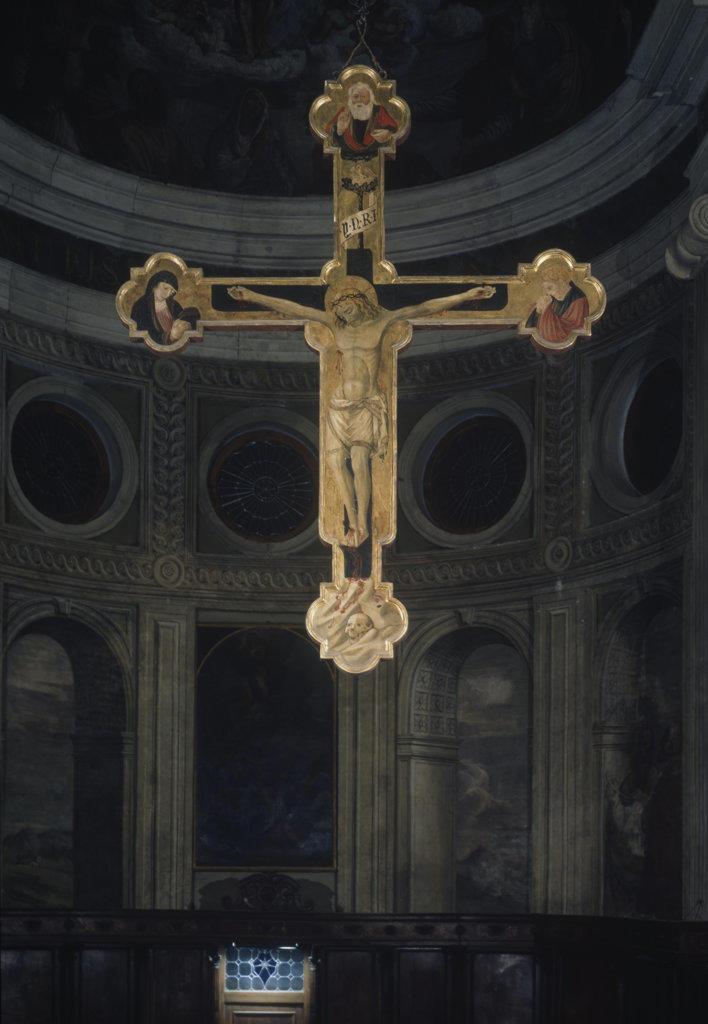 Crucifix by unknown artist, oil on wood panel, Artist Unknown, Italy, Padua, Abbazia Praglia : Stock Photo