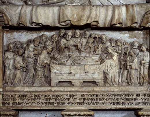 Stock Photo: 457-2401 Funeral Of The Virgin 1417 Magister Paulus (15th C. Italian) Stone