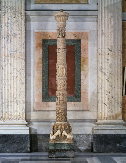 Candelabrum For The Paschal Church Candle 11th-12th Century P. Vassalleto & N. di Angelo Stone : Stock Photo