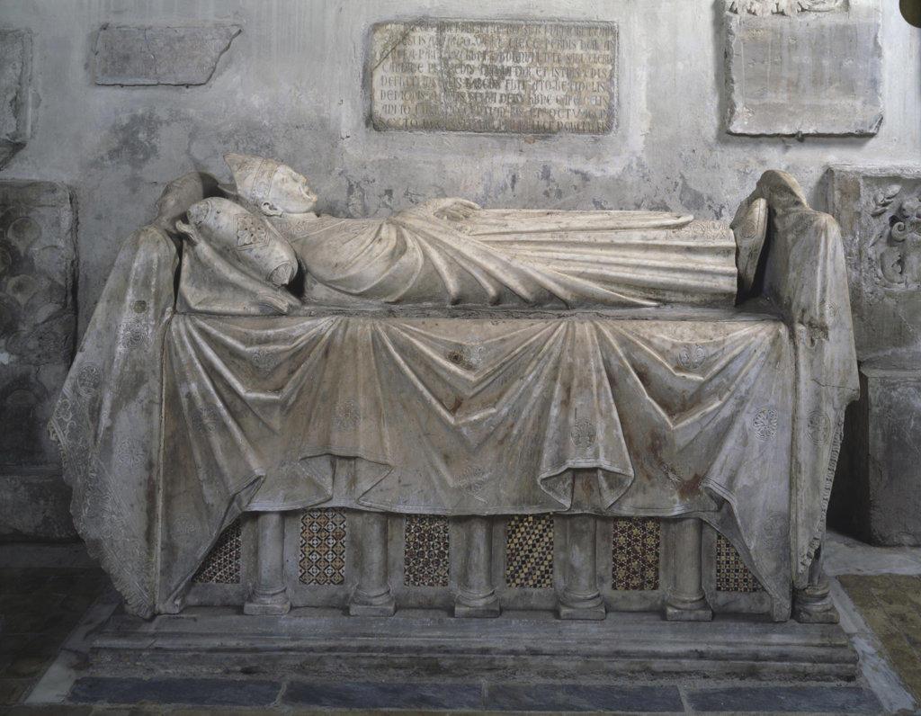 Tomb of Cardinal Pantaleon Anchier de Troyes Ca.1250 Arnolfo di Cambio (ca.1245-1310 Italian) Stone Santa Maria in Aracoeli, Rome, Italy : Stock Photo