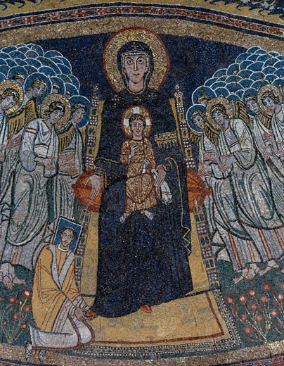 Madonna & Child With Angels (detail) Apse Mosaic 814-824 Roman Art Mosaic  : Stock Photo