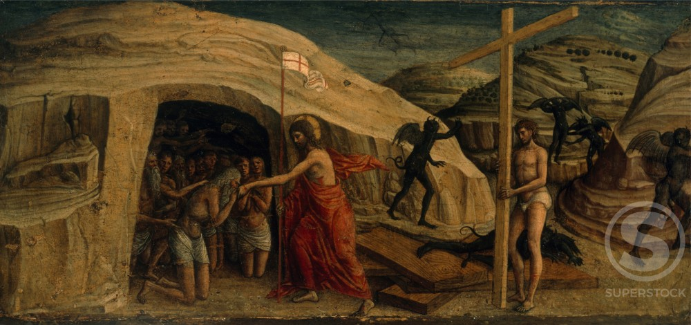 Christ's Descent into Limbo,  by Jacopo Bellini,  oil on wood panel,  (1400-1471),  Italy,  Civic Museum : Stock Photo