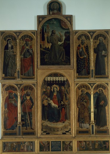 Polyptych of Saint Mary of the Graces of Bergamoby Vincenzo Foppa, oil on wood panel, 1427/30-1515/16, Italy, Milan, Pinacoteca di Brera : Stock Photo