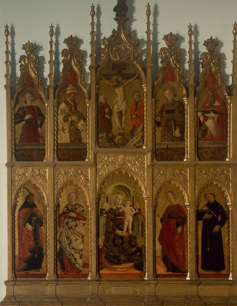 Polyptych of Gualdo Tadino (Virgin Enthroned, Crucifixion, and Saints) by Girolamo di Giovanni da Camerino, 1450-1473, Italy, Milan, Pinacoteca di Brera : Stock Photo